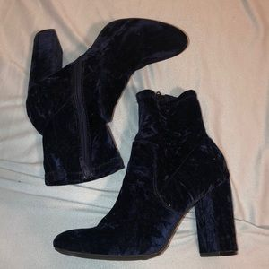 Shoes - Royal Blue Chunky Heel Boots